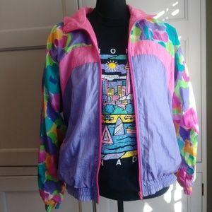 Vintage 80s Watercolor Windbreaker Jacket